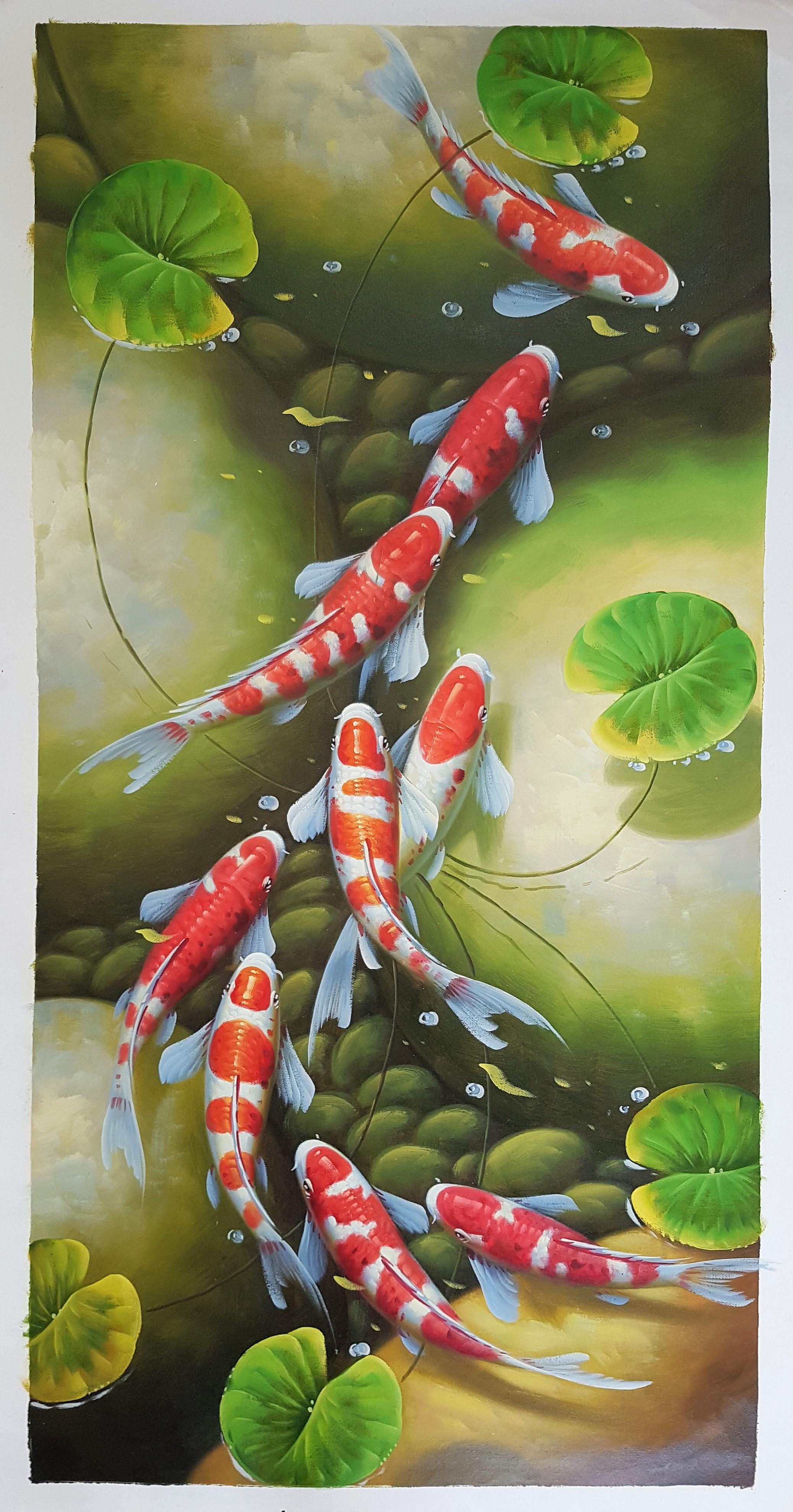 玄关画,九九锦鲤竖版